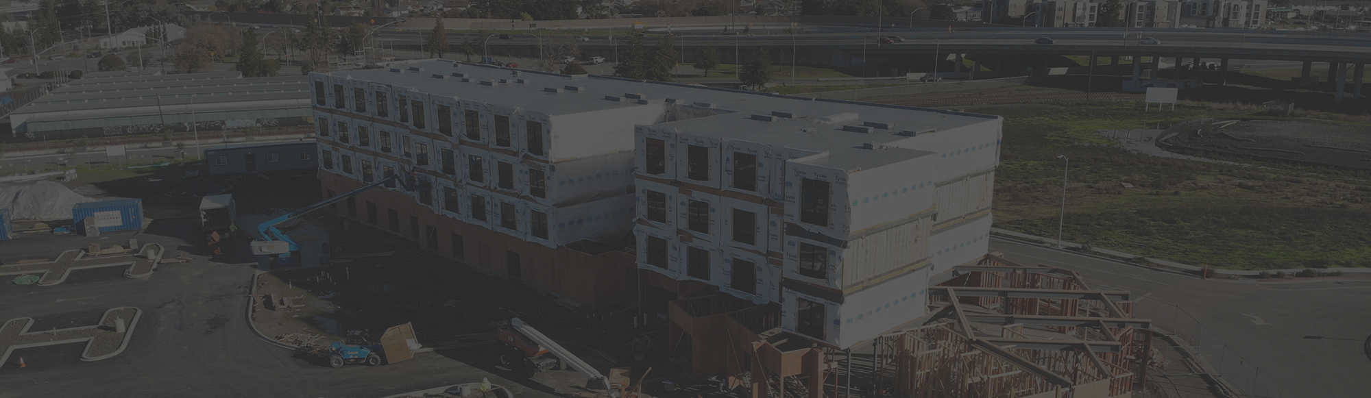 Accuset Construction aerial shot of multiple modular building units for a hotel